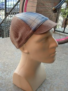 Cycling Cap  Herringbone Tweed and Flannel Plaid by FloydBoberg, $20.00