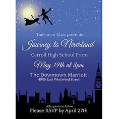Our A Night in Neverland Stationery Card shows Peter and Wendy flying through the night sky over the city. Stumpsparty.com