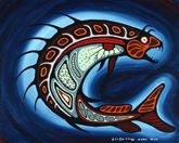 Carl Ray Spirit Fish, c. 1975 acrylic on canvas x cm Purchase 1975 McMichael Canadian Art Collection Inuit Kunst, Inuit Art, Native American Artists, Canadian Artists, American Indians, Cree Indians, Native Canadian, Kunst Der Aborigines, Indian Drawing