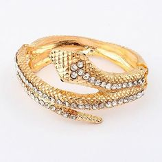 Min.order is $10 (mix order)Free Shipping & Promotion Fashion Punk Flashing Alloy Studded Rhinestone Snake Bracelet Bangles B49-in Special S...