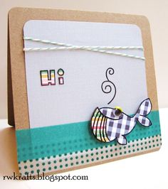 Just Because card using Paper Smooches stamps, paper piecing, twine, and target washi tape