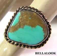 VINTAGE LARGE OLD PAWN STERLING SILVER TURQUOISE STONE BRAIDED RING 3.8g SZ 5