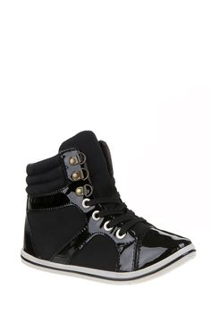 Patent Toe Cap Hi Top Trainers - Trainers - Shoes