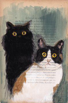 2 CATS - Peinture,  19x28,5 cm ©2015 par evafialka -                                                                                    Art figuratif, Impressionnisme, Papier, Animaux, Chats, cat, chat, animal, cats, black cat, chat noir, animal portrait