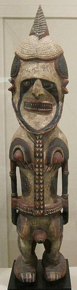 Ancestor figure (uli), Central New Ireland, Papua New Guinea, wood, lime and pigment, HAA.