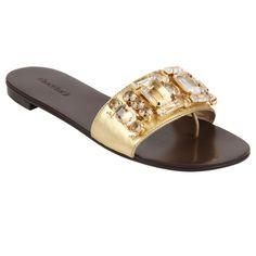 Rasteira Ouro Light de Couro com Pedraria - Shoestock