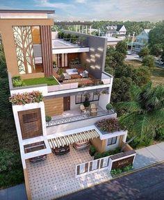 40 Top Beautiful Exterior House Designs ideas - Engineering Discoveries Modern House Facades, Modern Exterior House Designs, Dream House Exterior, Modern House Plans, Exterior Design, Modern Houses, 3 Storey House Design, Bungalow House Design, House Front Design