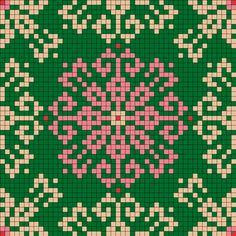 Green With Pink Perler Bead Pattern / Bead Sprite