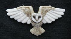 Porcelain Cabochon Flying Barn Owl by Laura Mears Polymer Clay Animals, Fimo Clay, Polymer Clay Crafts, Polymer Clay Jewelry, Owl Jewelry, Animal Jewelry, Jewellery, Owl Art, Bird Art