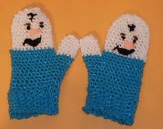OLAF-INSPIRED / MITTENS/ SIZE: TODDLER TO YOUNG STUDENT; COMICAL; BLUE, WHITE,  #Handmade #Mittens