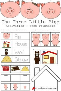 The 3 Little Pigs Activities and Free Printables-(pre-writing, sequencing, paper puppets for storytelling, and house outline so kids can create their own house)