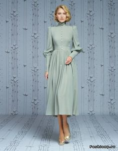 High neck prom dress long sleeve party dress chiffon short dress light green dress - High neck prom dress long sleeve party dress chiffon short dress light green dess – Alison Dress I - Modest Fashion, Hijab Fashion, Fashion Dresses, Women's Fashion, Retro Mode, Mode Vintage, Retro Chic, Vintage Pink, Prom Dresses Long With Sleeves