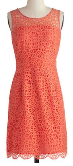 Pretty orange sheath dress with lace overlay http://rstyle.me/n/e27gznyg6
