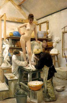 Édouard Joseph Dantan - A Casting From Life (1887)