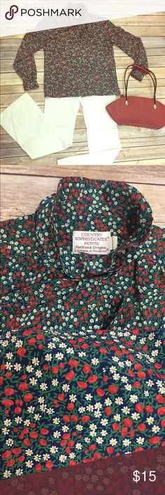 Vintage Country Sophisticates Petite Floral Blouse Vintage Country Sophisticates Petite Blouse! Lovely like new. No tears or stains. Made is Portland Oregon. Silky feeling. Comes with removable neck tie button down. Would fit Xs-Small. I am a small- medium but the arms are snug. Roses and Daisy print! Vintage Tops Blouses
