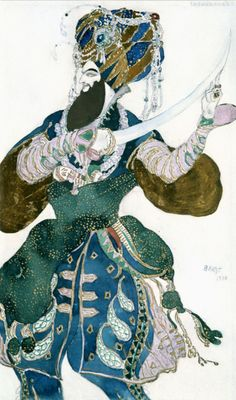 """This Drawing was made in 1910 by Leon Bakst, Costume designer for the """"ballet Russes"""" in Paris during . Theatre Costumes, Ballet Costumes, Russian Ballet, Russian Art, Léon Bakst, Ivan Bilibin, Mobile Art, Arabian Nights, Costume Design"""