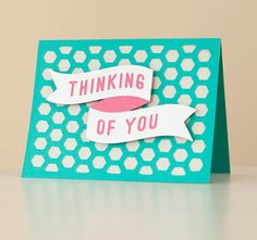 Spring Fling Cricut cartridge -- Thinking of you card. Make It Now with the Cricut Explore machine in Cricut Design Space.