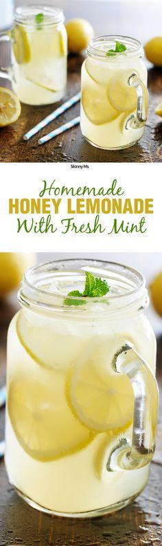 This Homemade Honey Lemonade With Fresh Mint is the perfect refreshing drink with just the right amount of sweetness.