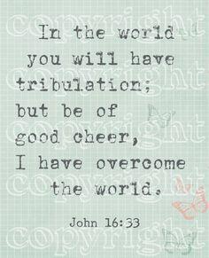 Scripture Art PDF printable John 16:33 by ByFaithPrintables on Etsy