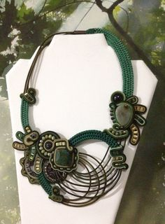 MonikaS Collar soutache con cuero