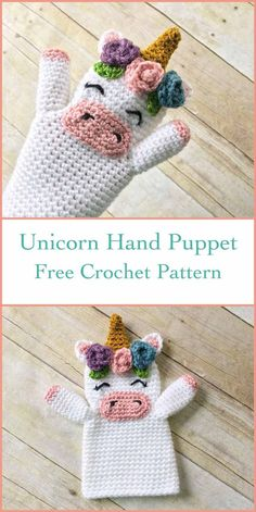 Crochet Unicorn Hand Puppet Free Crochet Pattern designed by Erin Greene. Cute and lovely unicorn hand puppet to crochet with flowers. Free Pattern More Patterns Like This! Diy Crochet Unicorn, Crochet Unicorn Pattern Free, Cute Crochet, Crochet Dolls, Free Pattern, Diy Crochet Gifts, Pattern Design, Puppet Patterns, Knitting Patterns