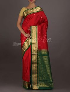 Sunita Red And Green Bold And Dashing #BangaloreSilkSaree