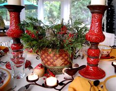 I have that tea light candle holder. Christmas Decorations, Table Decorations, Christmas Ideas, Tealight Candle Holders, Historic Homes, All Things Christmas, Candlesticks, Tablescapes, Centerpieces