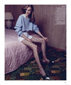 Hedvig Palm models cropped sweater and dress for Harper's Bazaar Spain Magazine February  2016 issue