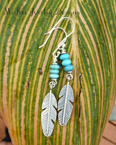 Feather charms in silver, blue turquoise stone and sterling silver earrings. - Andria Bieber Designs, Earrings - Jewelry, McKee Jewelry Designs - Andria Bieber Designs #SterlingSilverEarrings