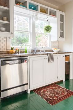 Open cabinetry in small kitchen