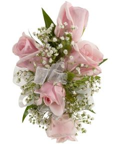 ROSE CORSAGE, PINK - A corsage with five pink sweetheart roses and babies breath. Designed as a wrist corsage, but can be converted to a pin on corsage with included pins. Prom Corsage And Boutonniere, Bridesmaid Corsage, Flower Corsage, Boutonnieres, Wrist Corsage Wedding, Prom Flowers, Bridal Flowers, Pretty Flowers, Purple Wedding