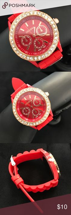 Geneva Silicone Jelly Quartz Watch Product Details Condition: 100% Brand New Type: Fashion Band Material: High Quality Silicone Strap Clasp: Buckle Features: Fashion Surface Design Belt Length: 24cm Fit Wrist: 17-22cm  Belt Width: 2.0cm Watch Face Dia:4cm Note: 3 small dials are adornment dials. No Trades. Price is Firm Jewelry