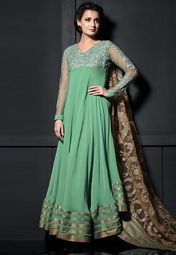 Admyrin Green Embroidered Dress Material Online Shopping Store