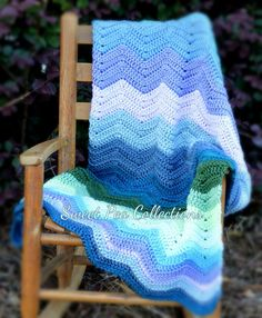 Crochet Chevron Baby Blanket Gender Neutral by sweetpeacollections