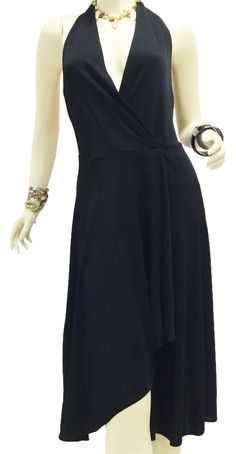 """Ralph Lauren Wrap Halter Asymmetrical Dress. $945 Free shipping and guaranteed authenticity on Ralph Lauren Wrap Halter Asymmetrical Dress at Tradesy. Ralph Lauren black size 8  36"""" from side +15"""" h..."""