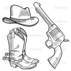 Clip Art of Cowboy boots .Vector graphic image - Search Clipart, Illustration Posters, Drawings, and EPS Vector Graphics Images - Cowboy Boots Drawing, Cowboy Art, Western Cowboy, Cowboy Pics, Western Decor, Western Art, Western Style, Ak 47, Pyrography Patterns