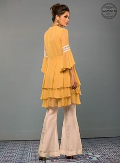 Picture of Mellow yellow Girls Designer Dresses, Designer Party Wear Dresses, Designer Clothing, Pakistani Dresses Casual, Pakistani Dress Design, Eid Outfits, Indian Outfits, Short Frocks, Sharara Designs