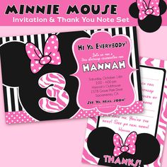 Minnie Mouse Party - Invitation - Minnie Mouse Birthday - Inspired by Minnie Mouse - Amanda's Parties TO GO. $14.00, via Etsy.