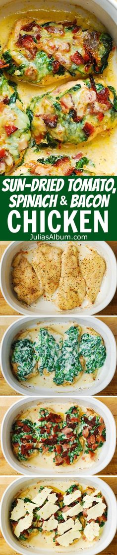 Sun-Dried Tomato, Spinach, and Bacon Baked Chicken Breasts