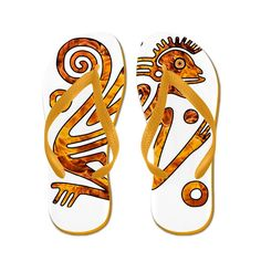 Truly Teague Women's Chinese New Year Aztec Style Fire Monkey 2016 Rubber Flip Flops Sandals *** You can find out more details at the link of the image.