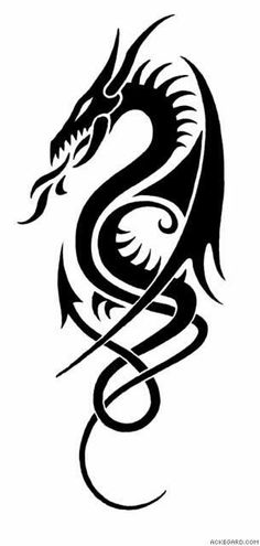 50 Amazing Dragon Tattoos You Should Check Out - Dragon tribal Tattoo highly stylized. Tribal Drawings, Tattoo Drawings, Body Art Tattoos, Maori Tattoos, Tribal Dragon Tattoos, Dragon Tattoo Designs, Celtic Dragon Tattoos, Tribal Tattoo Designs, Dragon Tattoo With Fire