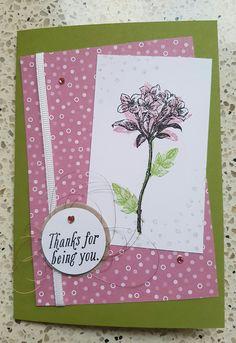 Voorbeeldkaart voor mijn moeder. Zij krijgt de stampinup stempelset Avant Garden van mij. Card made for my mom. Example of what you can make with the stampset Avant Garden. I'll give her this stampset.