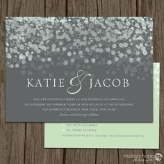 Champagne Bubbles Modern Wedding Invitation & RSVP Set by ©MalloryHopeDesign, $2.95