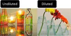 Painting and tinting upcycled glass jars