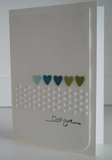 Such a cute and simple card. I like how she used the border embossing folder going sideways. Nice, simple, impressive. The colors can be changed to whatever fits the occasion or person. For color ideas, go to Kuler.com