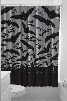 "Clean the day's bats out of your belfry behind this spooky shower curtain by Sourpuss •Plastic shower rings included •100% Polyester •72"" by 78"""