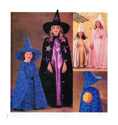 McCalls 319 3781 WITCH or PRINCESS Halloween Costume Sewing Pattern - Gown, Cape, Hat, Sash - Size Child to Teen 7-8-10-12-14 by FindCraftyPatterns on Etsy