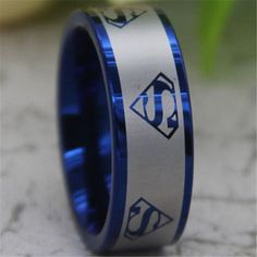 Blue Tungsten Band with Flat Pipe Edge by ScoreSportsJewelry