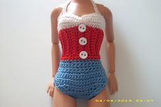 Crochet for Barbie (the belly button body type): Nautical One Piece Swimsuit