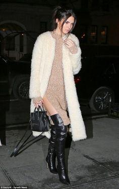 Kendall Jenner wearing Celine Nano Bag, Ashley B Long Faux Fur Coat, Celine Fall…